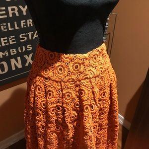 Moulinette Soeurs Skirts - Orange embroidered looking skirt.